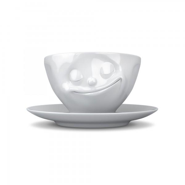 fiftyeight Kaffeetasse Glücklich weiß