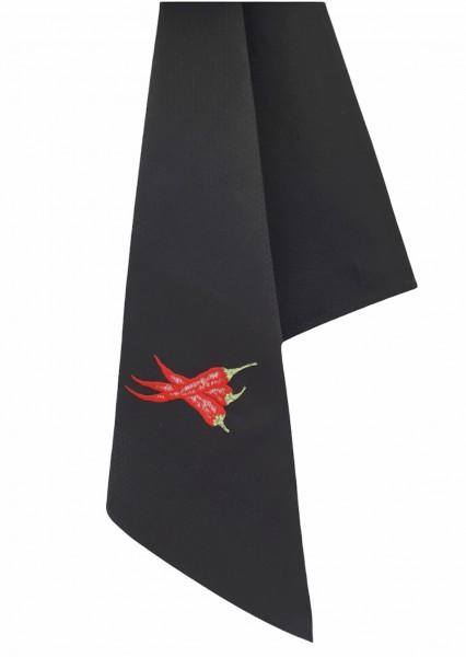 Vista Portuguese Geschirrtuch Chili schwarz Handbestickt