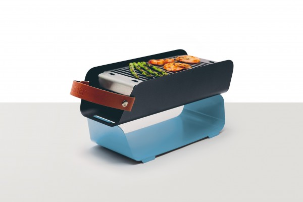 UNA Grill Tragbarer All-in-One Holzkohlegrill - pastell blue