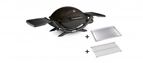 Weber Gasgrill Q2200 Black mit Hitzeschild und Bratenrost
