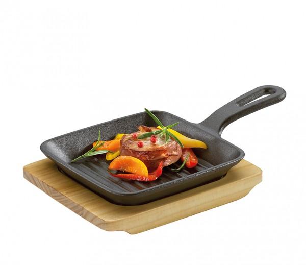 Küchenprofi Grill- Servierpfanne mit Holzbrett BBQ