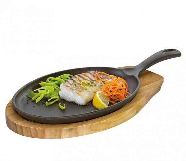 Küchenprofi Servierpfanne oval mit Holzbrett BBQ