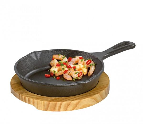 Küchenprofi Servierpfanne rund mit Holzbrett BBQ
