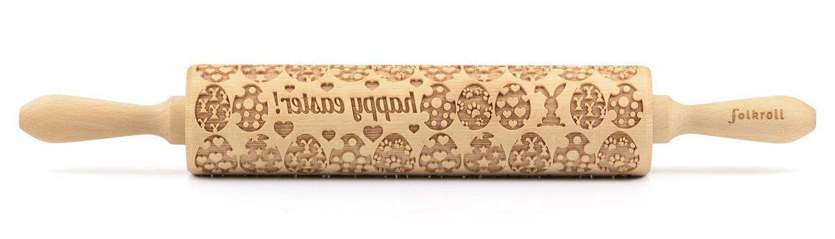 Folkroll Teigrolle 3D Motiv Osterhasen junior 23,5 cm Buchenholz