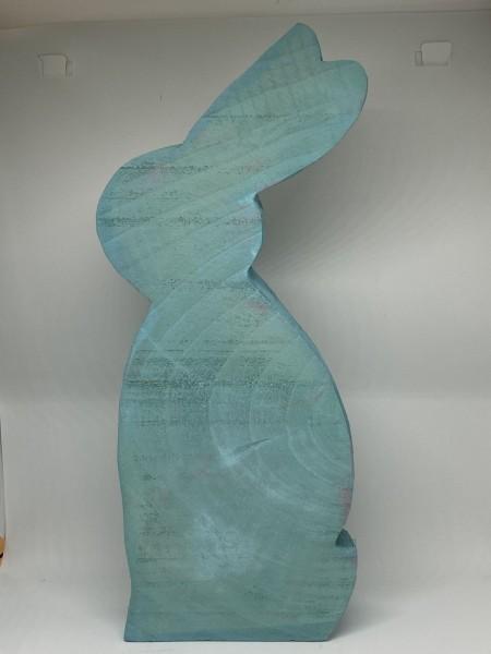 Hase Holz Blau 30cm stehend