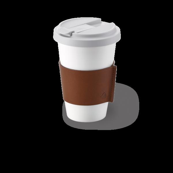 Dibbern Coffee-To-Go Becher mit Lederbanderole in Braun 0,35l